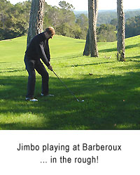 Jimbo golfing at the Barberoux Golf Course in Provence, France.>the 